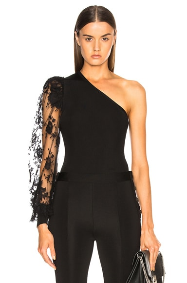 Lace Sleeve One Shoulder Top