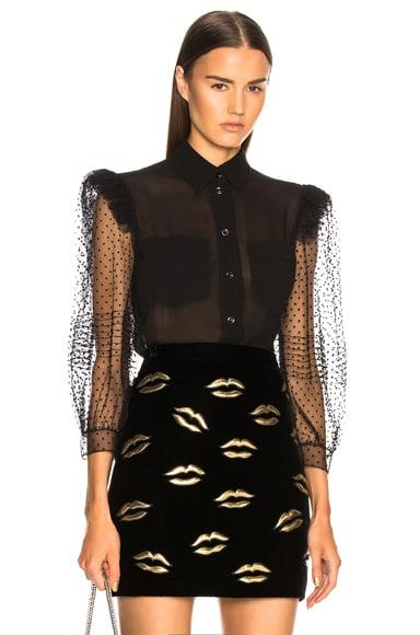 Silk Georgette Lace Sleeve Blouse