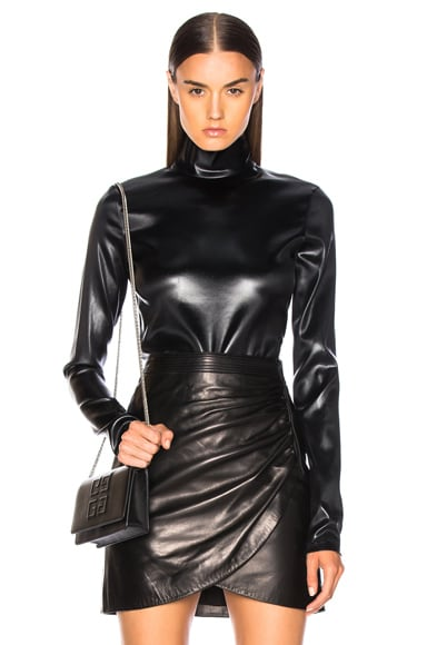 Faux Leather Turtleneck Bodysuit