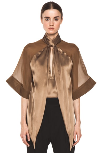 Satin Tie Neck Blouse