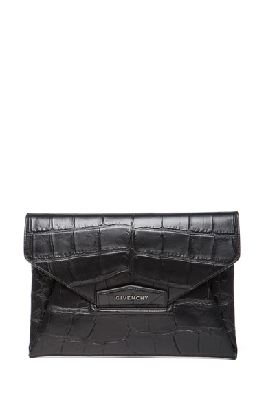 Medium Stamped Croc Antigona Envelope