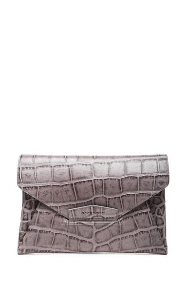 Medium Stamped Croc Antigona Envelope