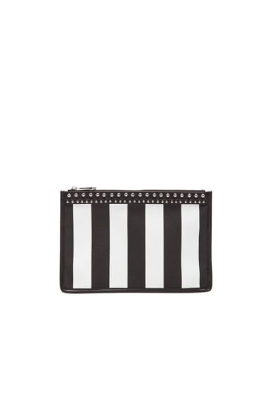 Medium Stripe Coated Canvas and Stud Pouch