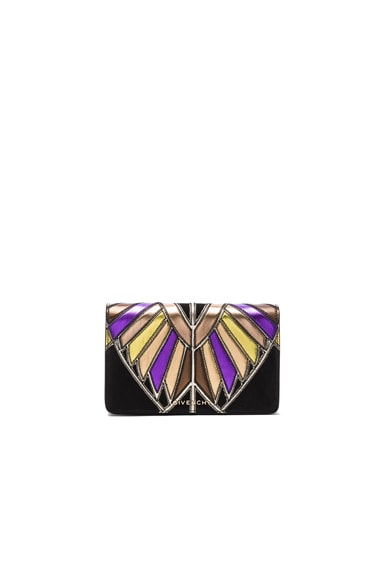 Wings Leather Patchwork Pandora Chain Wallet en Imprimé