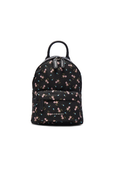 Nano Pink Hibiscus Printed Nylon Backpack