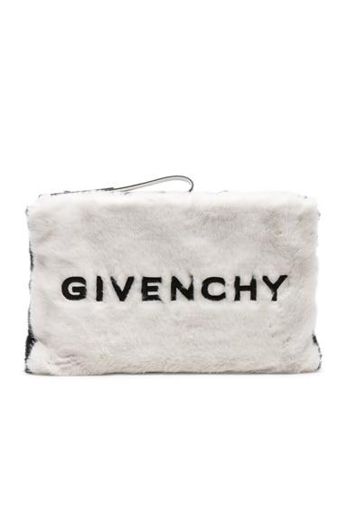 Large Faux Fur GV3 Logo Pouch