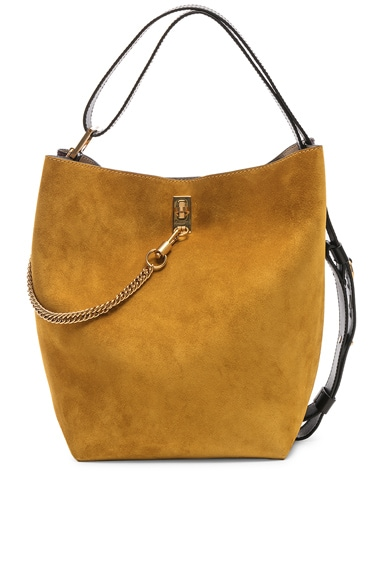 Medium Suede & Leather Bicolor GV Bucket Bag
