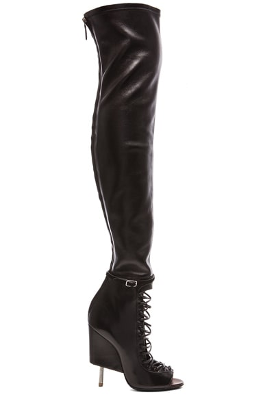 Lace Up Runway Leather Boots
