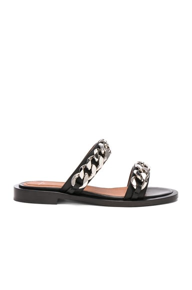 Leather Two Strap Chain Flat Sandals