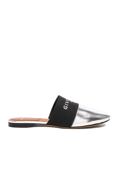 Leather Bedford Logo Trim Flat Mules
