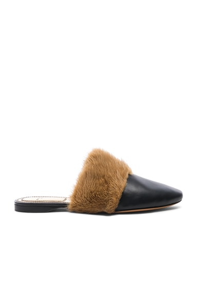 Leather Bedford Mink Fur Trim Flat Mules