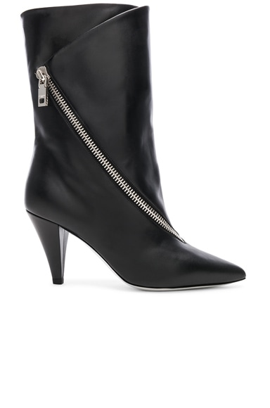 Zip Leather Boots