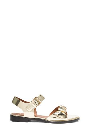 Robertha Metallic Calfskin Leather Flat Sandals