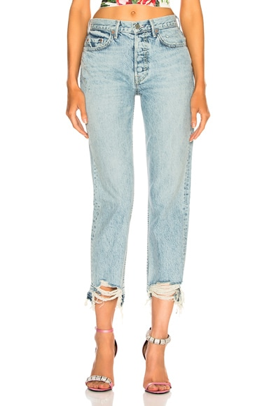 Helena High-Rise Chewed Hem Jean