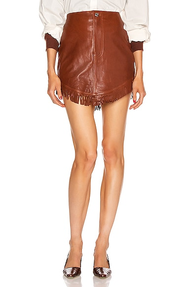 Sadie Leather Fringe Mini Skirt