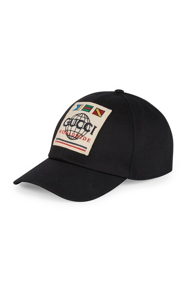 Baseball Hat With Gucci Worldwide Patch In Black