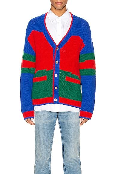 Oversize Striped Wool Cardigan