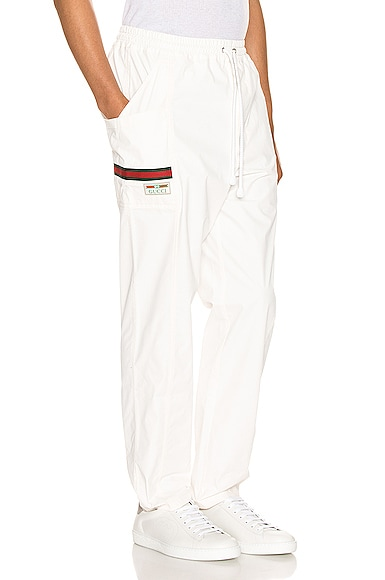 Cotton Canvas Pant With Gucci Label