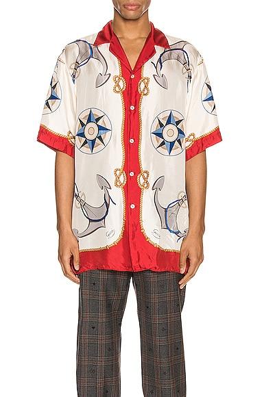 Nautical Print Oversize Bowling Shirt