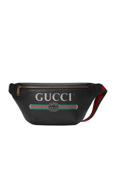 Gucci Print Leather Belt Bag In Black