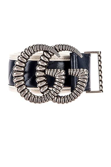 Leather Torchon Double G Buckle Belt