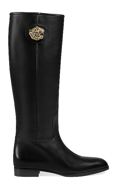 Leather Tiger Head Boots