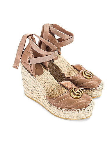 Leather Platform Espadrille Wedges