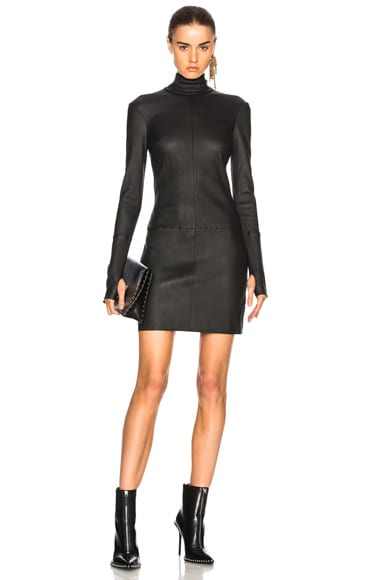 Long Sleeve Leather Dress