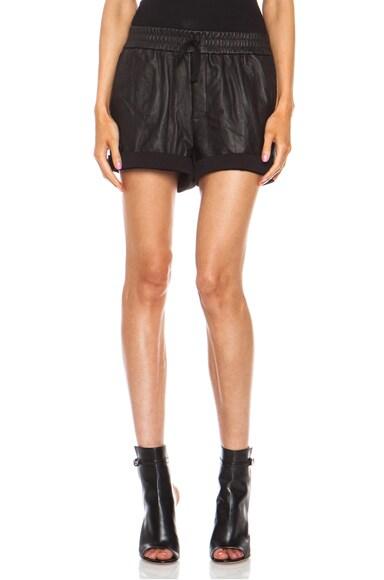 Washed lambskin Leather Shorts