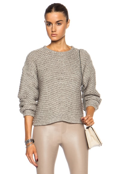 Soft Grid Cropped Wool-Blend Sweater