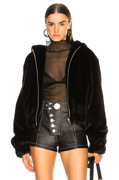 Hooded Faux Mink Bomber Jacket