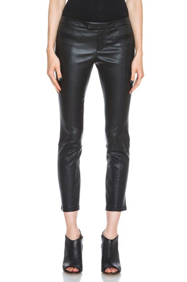 Stretch Plonge Cropped Leather Pant