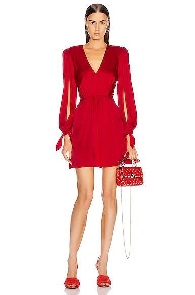 Haney HANEY JOPLIN V NECK DRESS IN RED