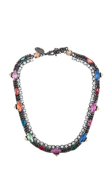 Rhinestone Antique Brass Necklace
