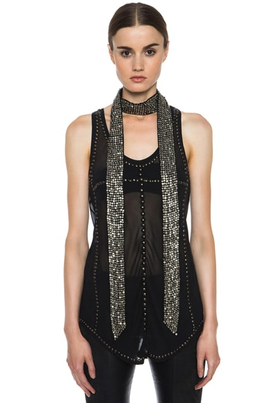 Pulse Silk & Brass Embellished Scarf