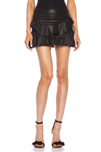 Cyan Lambskin Leather Skirt