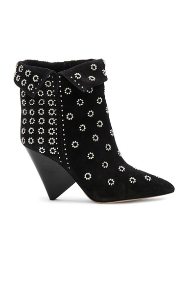 Studded Suede Lakky Ankle Boots