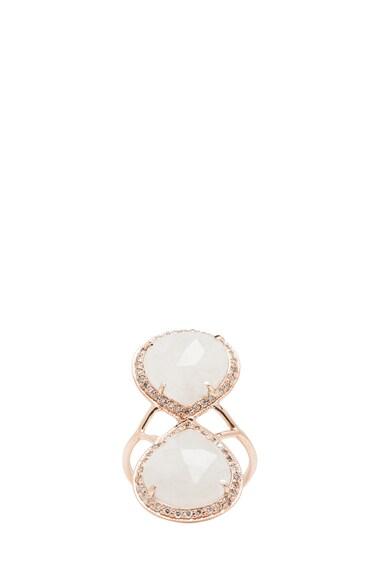 14K Pave Teardrop Moonstone Ring