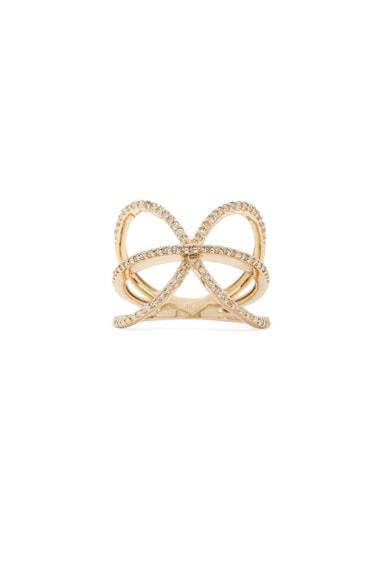 14K Pave X Ring