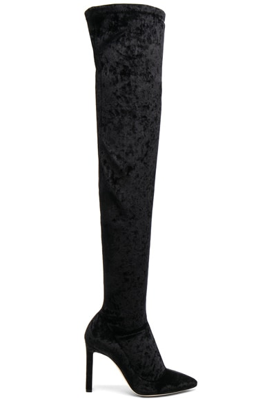 Crushed Stretch Velvet Lorraine Boots