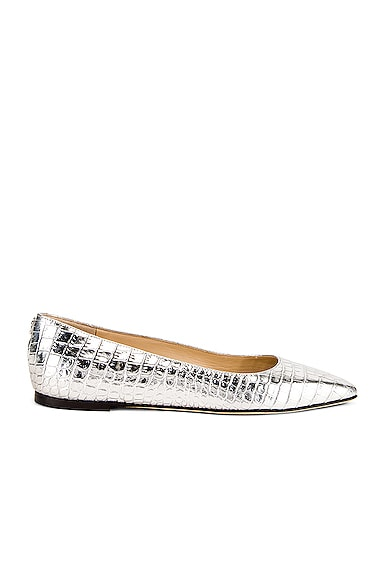 Mirele Metallic Croc Embossed Leather Flat