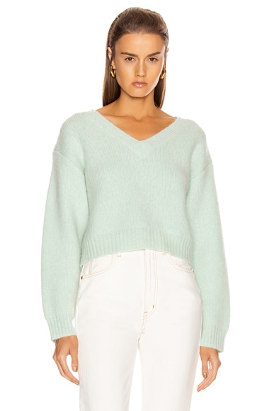Foggy Cropped V Neck Sweater