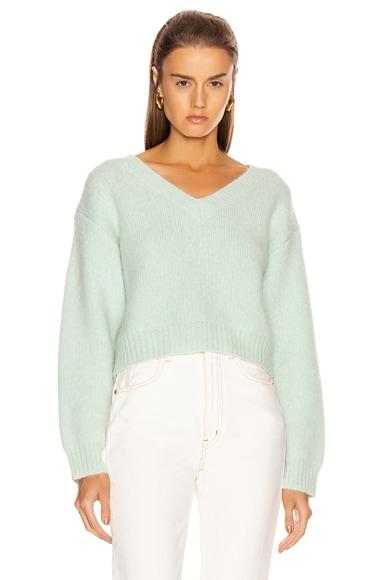 Foggy Cropped V Neck Sweater
