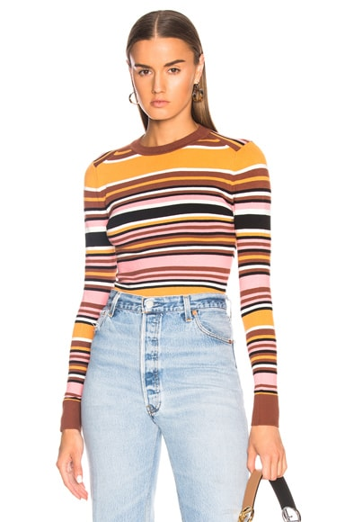 Bodycon Striped Crew Neck Sweater