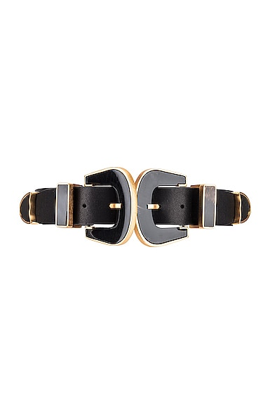Narrow Western Black Leather Belt