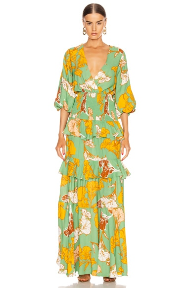 Johanna Ortiz Dresses JOHANNA ORTIZ VOILA IT'S ART MAXI DRESS IN GREEN,FLORAL,TROPICAL,YELLOW
