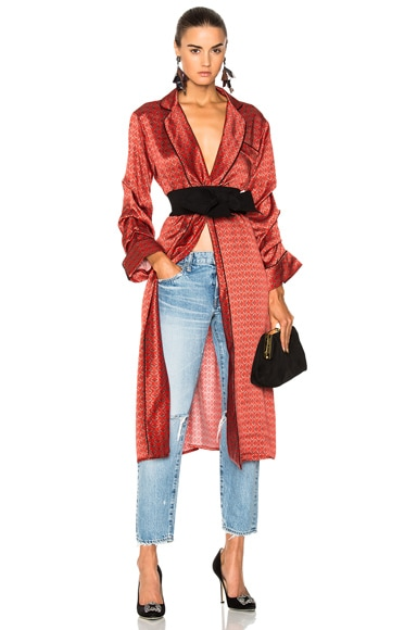 Infante Printed Silk Satin Kimono with Belt