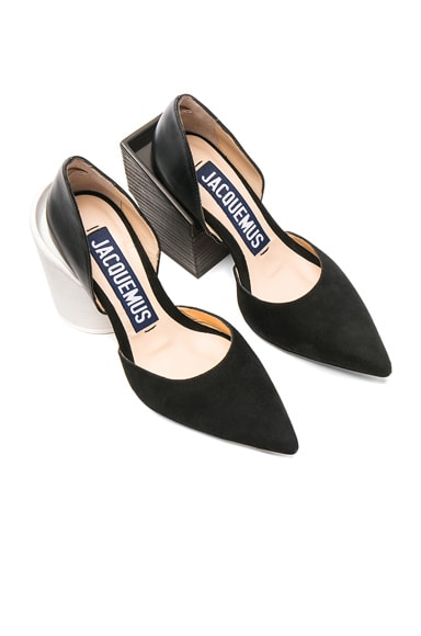 Two Tone Block Suede Heel Pumps