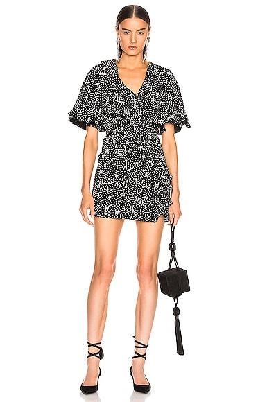 Speckle Print Flutter Sleeve Dress