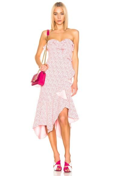 Speckle Print Asymmetric Ruffle Dress